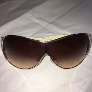 Accessories - Gently Used. Leopard, Gold Trim, Wide Sunglasses